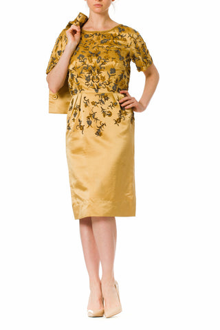 1950s Gold Silk Beaded Short Sleeve Dress with matching Jacket