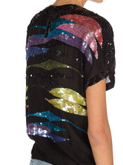 Circa 1980s Vintage Sequined Silk Chiffon Top