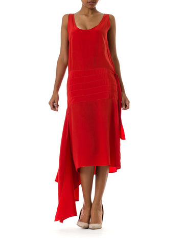 1920s Asymmetrical Sleeveless Red Day Dress