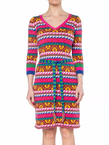 1990s Betsey Johnson Colorful Knit Dress