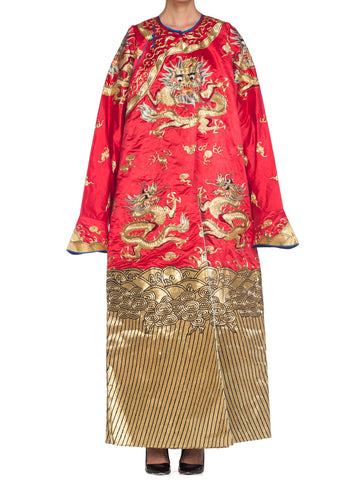 Metallic Golden Dragons Embroidered Red Chinese Opera Robe