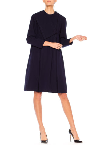 1960S GEOFFREY BEENE Navy Blue Mod Long Sleeved Box Pleated Swing Dress