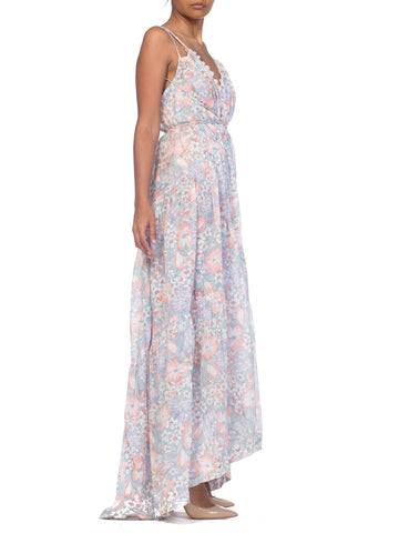 MORPHEW COLLECTION Backless Wrap Maxi  Dress Made From 1970S Pastel Floral Cotton Fabric