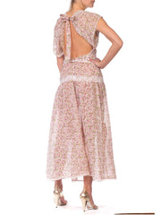 Backless Dress Made from 1930s Floral Cotton with Victorian Lace