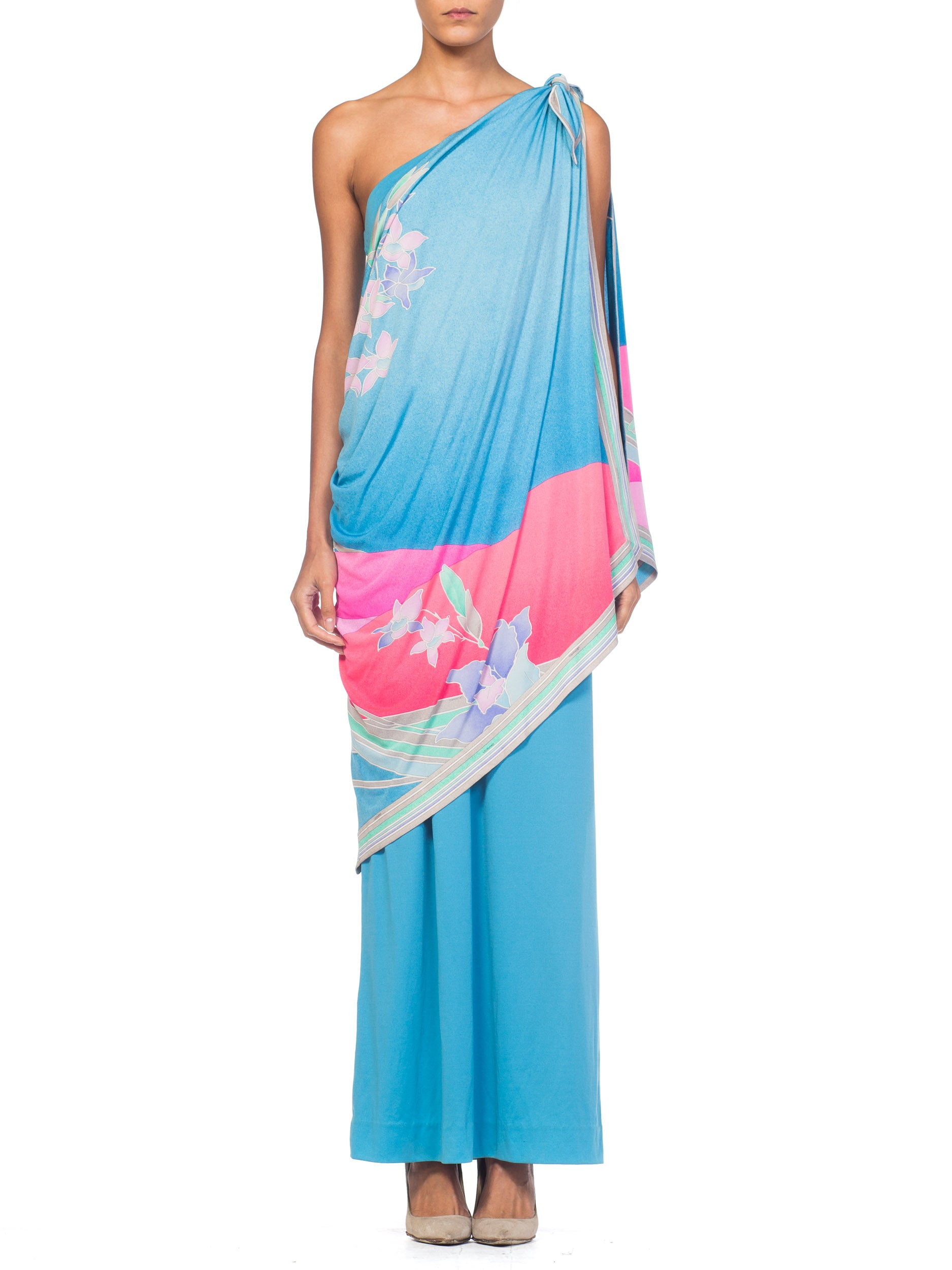 1970s Draped on Shoulder Tropical Silk Jersey Gown