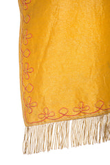 1890S Gold Lurex Embroidered Fringed Cape With Hardware Clasp