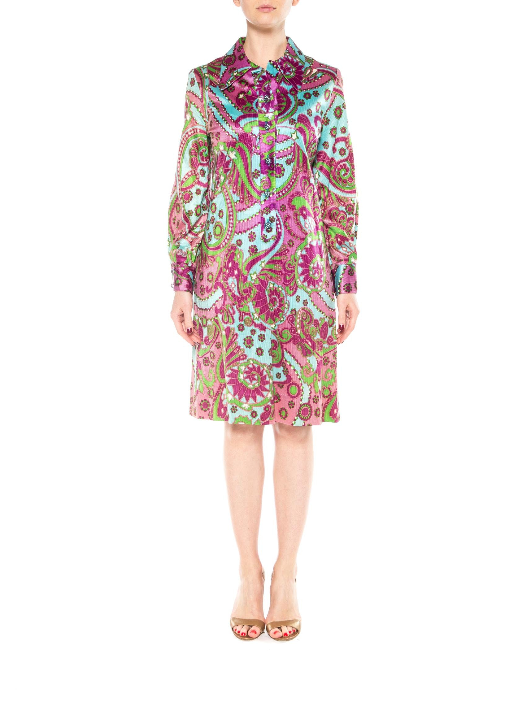 1960s Psychedellic Print Shirt Dress