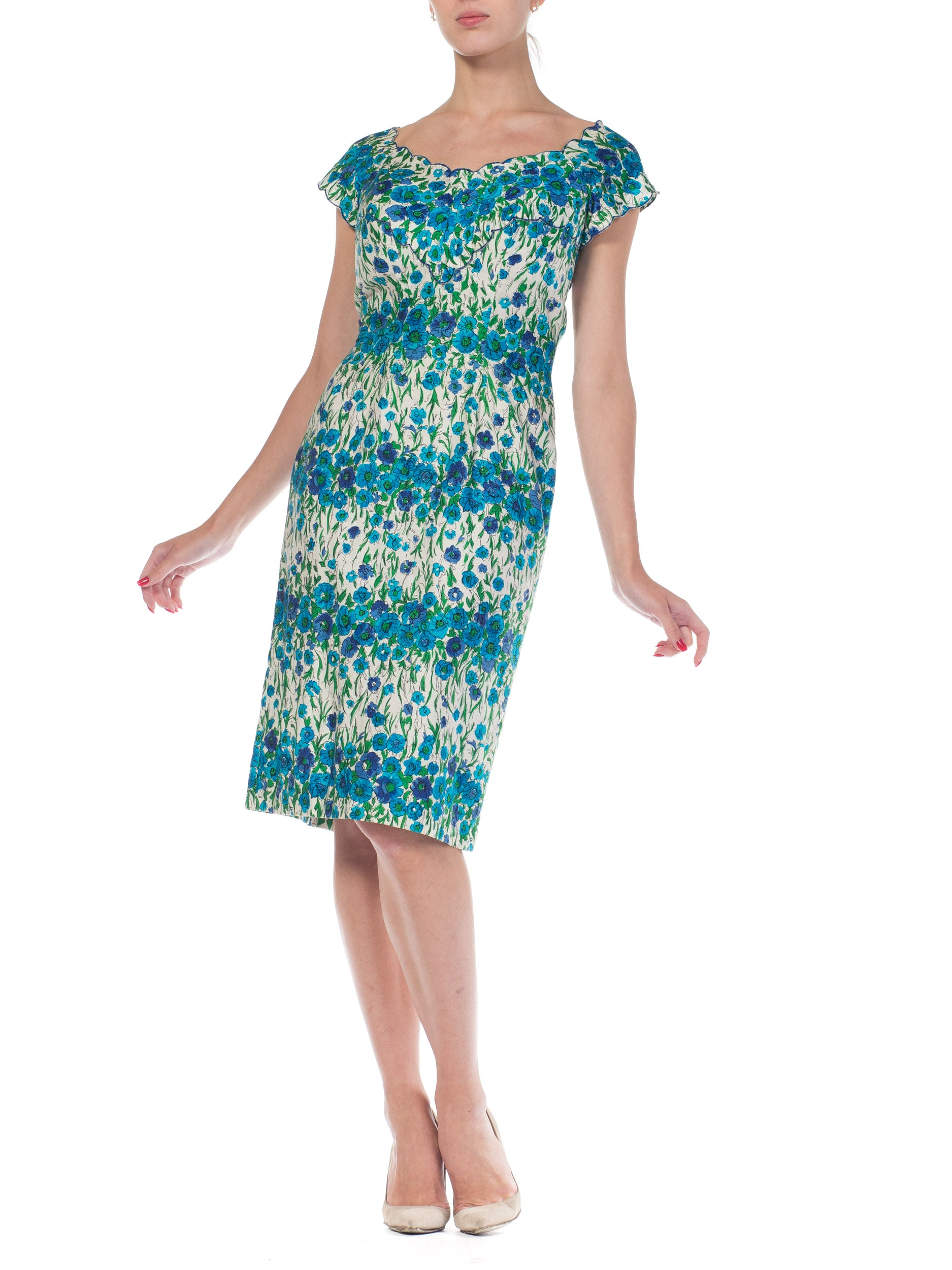1950S Blue & Green Floral Cotton Alix Of Miami Sexy Ladylike Day Dress