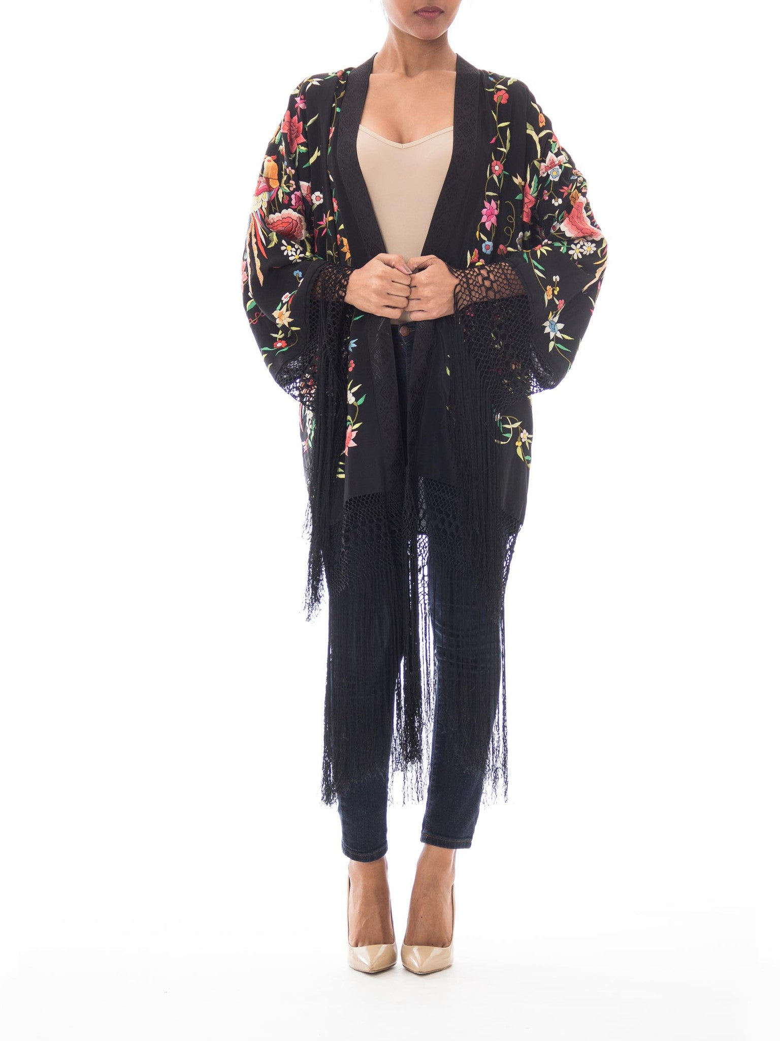 1920S Morphew Collection Floral Silk/Rayon Fringe Kimono Made From Antique Chinese Piano Shawl