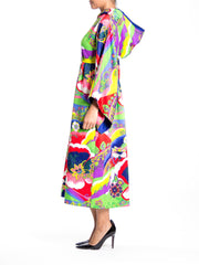 1970s Psychedelic Floral Print Hood Empire Waist Bell Sleeve Dress