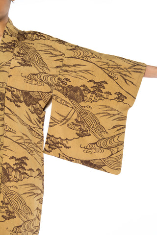 1940S Beige & Brown  With Asian Landscape Print Kimono