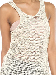 White Cut Leather Net Tank