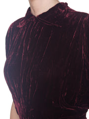 30s Silk Velvet Oxblood Draped Sleeve Gown