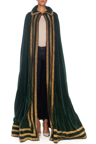 1920s Green Velvet Floor Length Cape