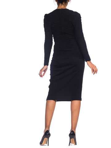 1980S LOUIS FERAUD Black Wool Jersey Long Sleeve Ruched Sweater Dress
