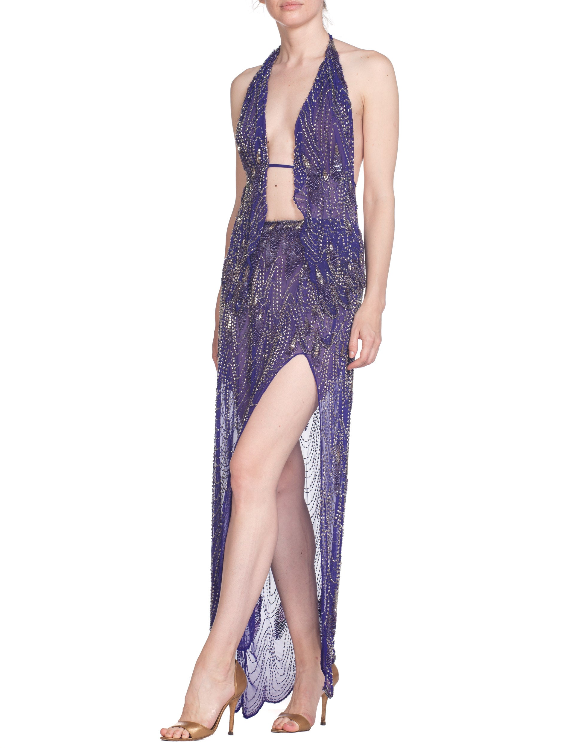 MORPHEW COLLECTION Purple Hand Beaded Silk Chiffon Cher-Inspired 2 Piece Gown With High Slit