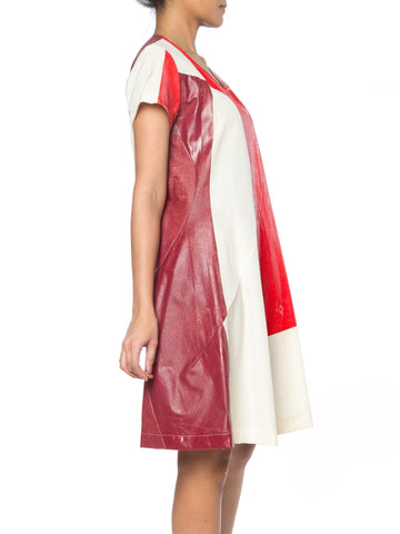1990S Comme Des Garcons Red & White Cotton Hand-Painted Patchwork Muslin Dress From 1995