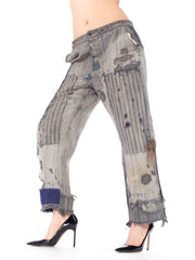 1940s Railroad Stripe Patched Distressed Indigo Workwear Pants