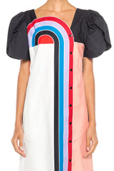 Maximalist Short Sleeve Cotton Rainbow Dress