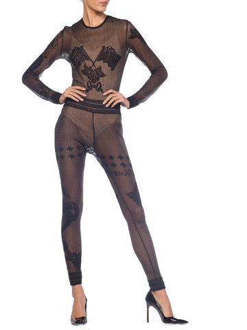 1990S JOHN GALLIANO Sheer Knit Bodysuit Jumpsuit From The Siouxsie Sphinx Collection