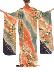 Japanese Silk Kimono With Ombré & Gold Details