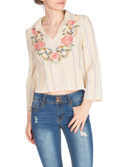 1970s Floral Embroidered Cotton Boho Top With Collar