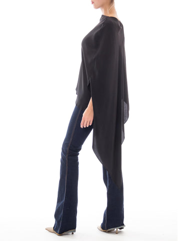 1980S Neiman Marcus/Jack Bryan Polyester Jack For Marcus Black Minimalist Asymmetrical Shawl Top
