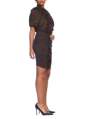 2000S GIVENCHY Chocolate Brown Silk & Lycra Draped Bodice Dress With Stretch Body-Con Skirt