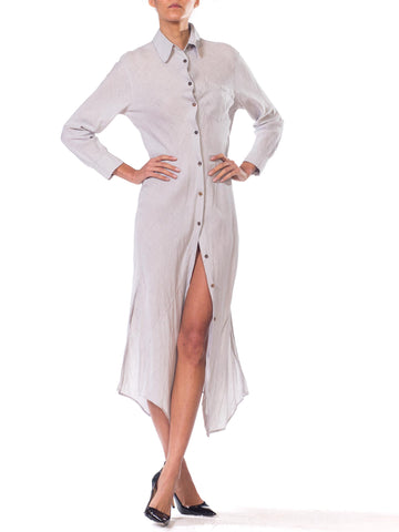 1990S JILL SANDER Dove Grey Bias Cut Linen Shirt Dress With Slit