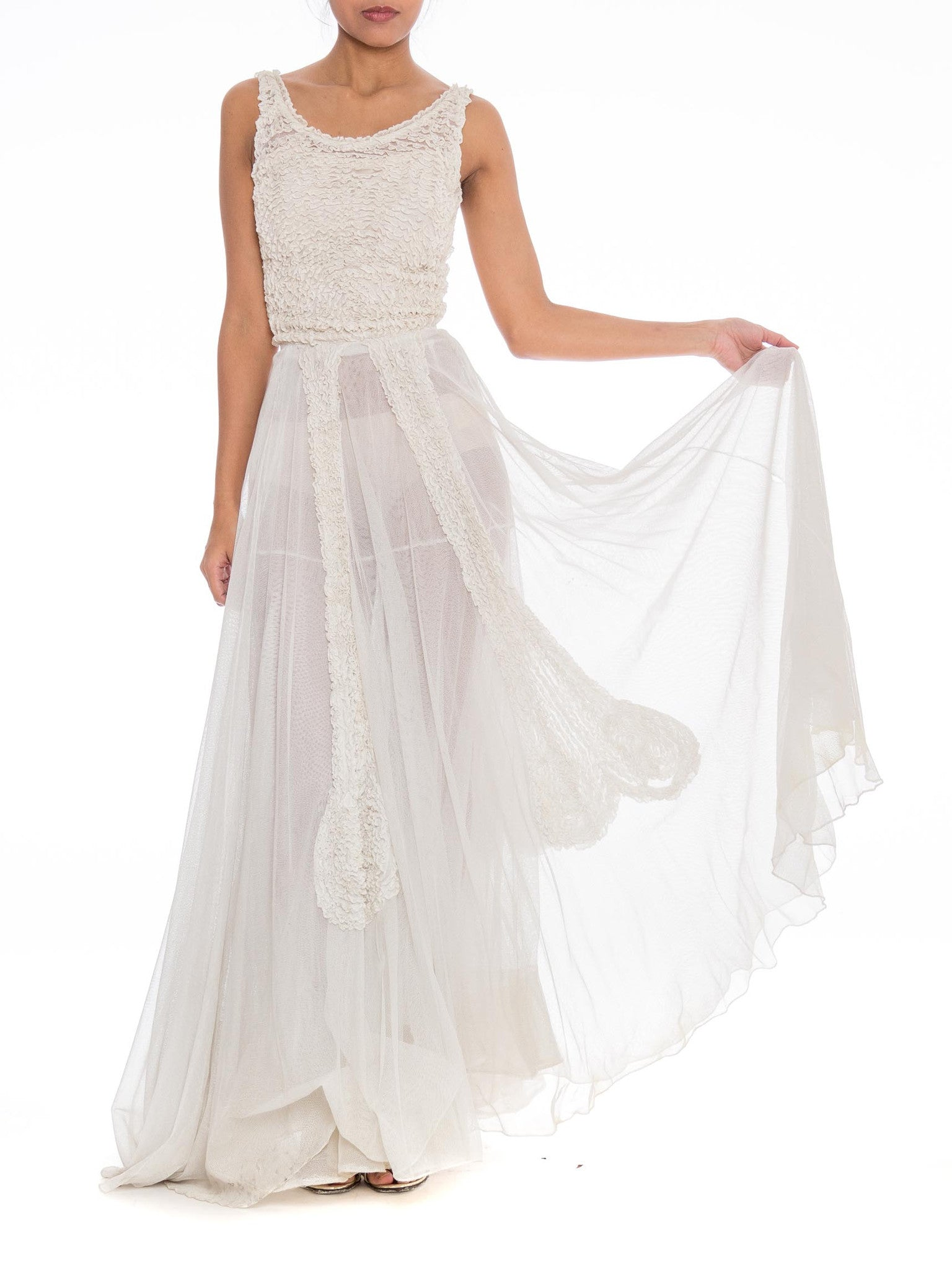 1930S Off White Rayon & Cotton Net Gown With Massive Double Layered Skirt