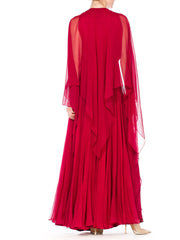 Alfred Bosand Beaded Sheer Silk Chiffon Gown with Cape, 1970s