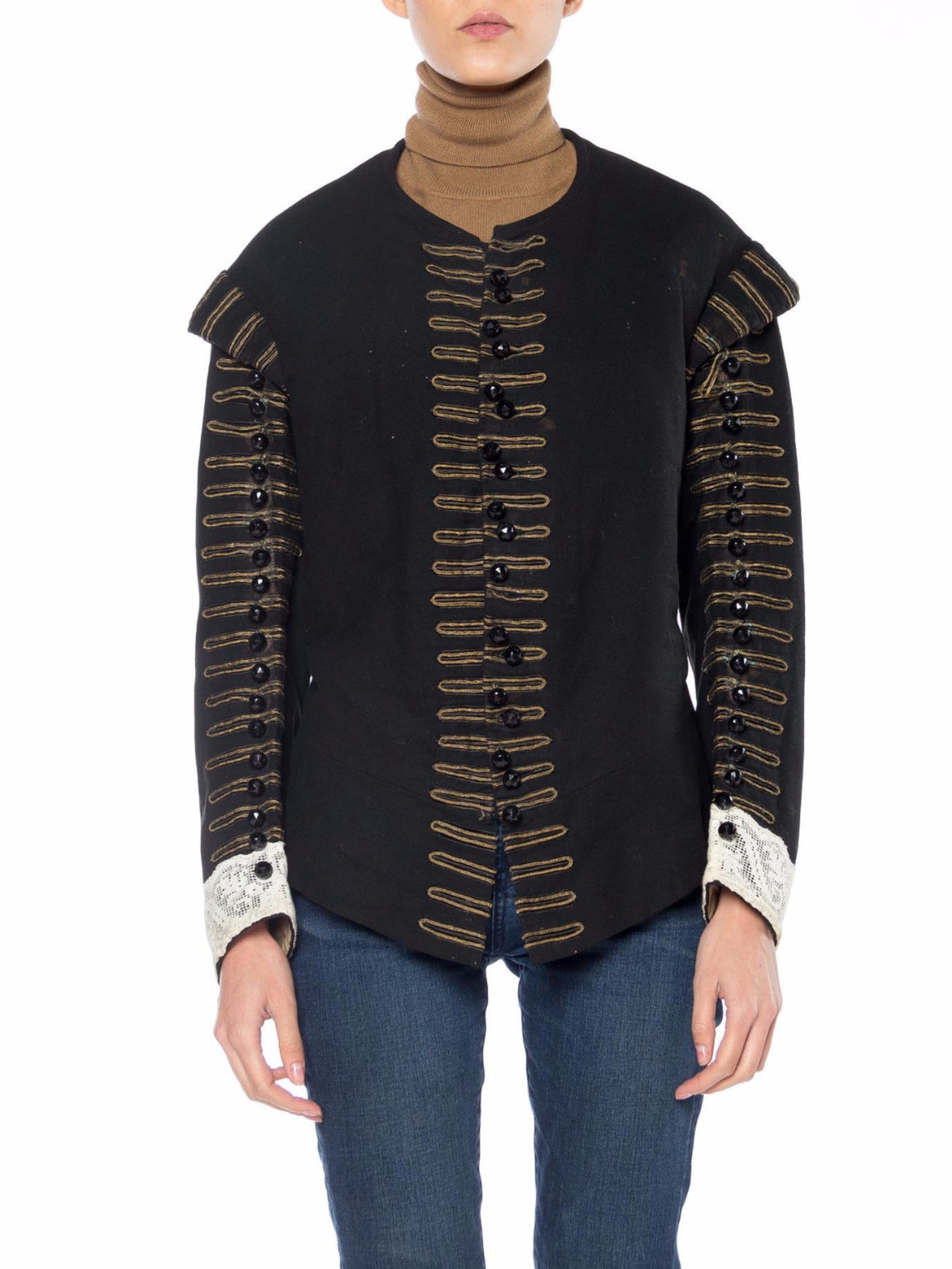 Victorian Black Wool Men's 16Th Century Spanish Style Doublet Jacket With Antique Gold Trim & Glass Buttons