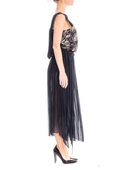 1980s Black Floral Pleated Evening Dress