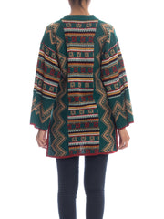 1970s Ethnic Printed Sweater Dress