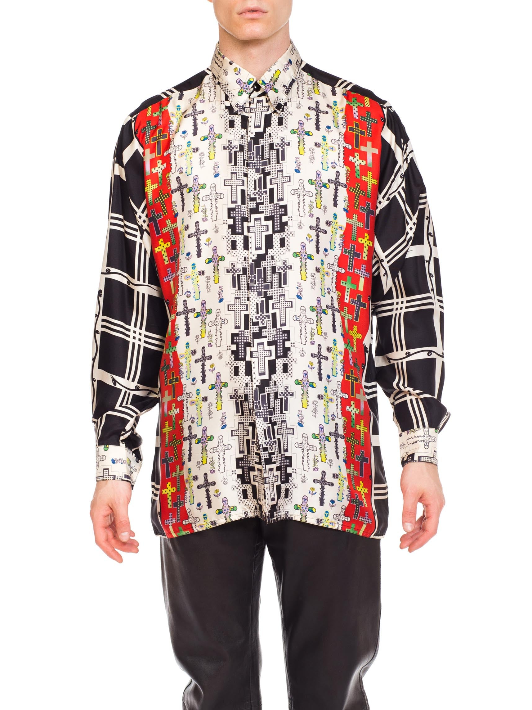 1990S Gianni Versace Black & White Silk Men's Illuminati Cross Shirt