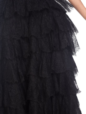 1940S Black Silk Chantilly Lace Ruffled Gown With Corset Bodice And Crinoline