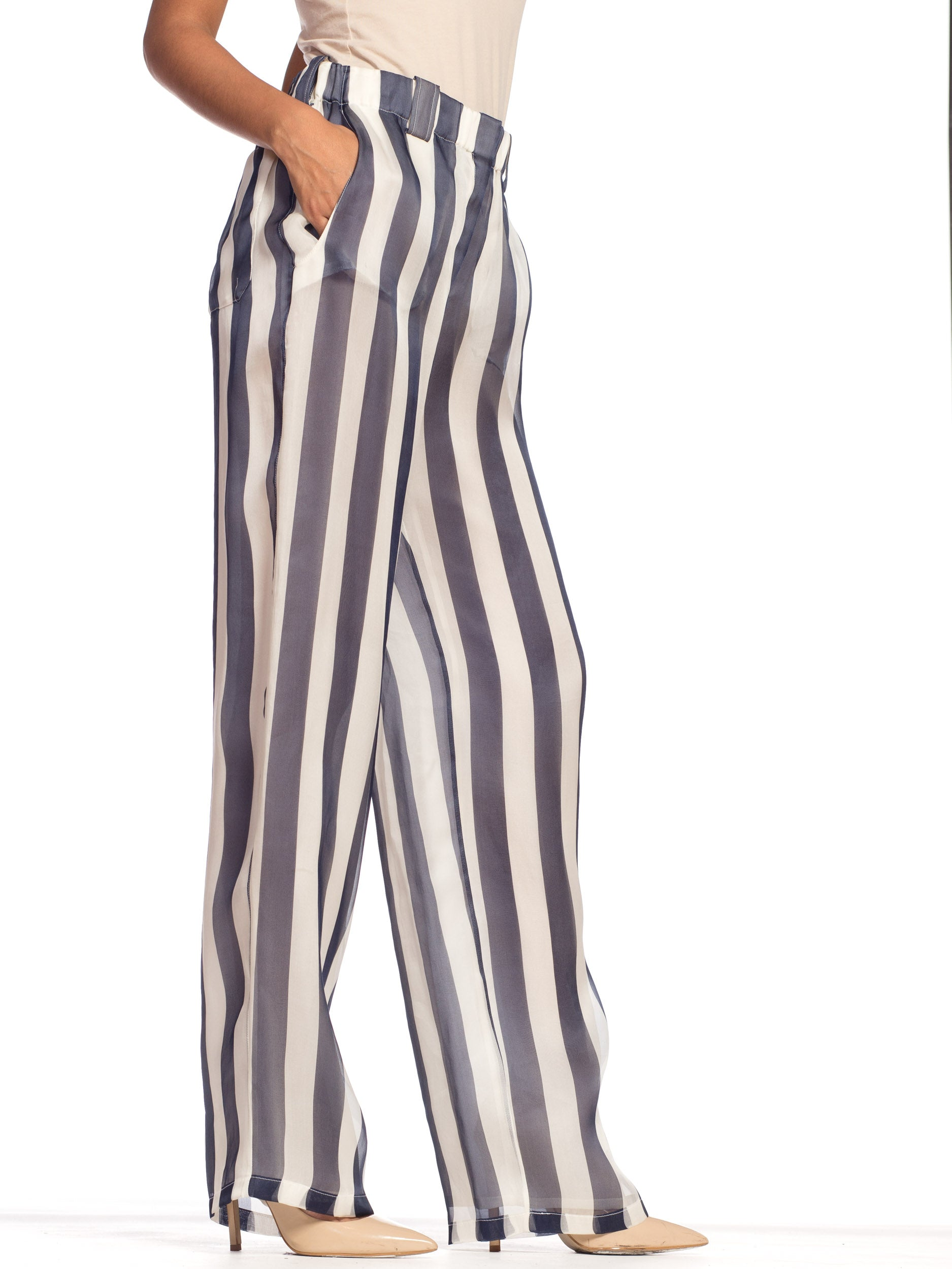 1990S Giorgio Armani Blue & White Silk Organza Nautical Striped Pants