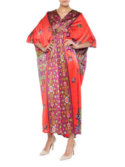 Red with Purple and Green Paisley Kaftan