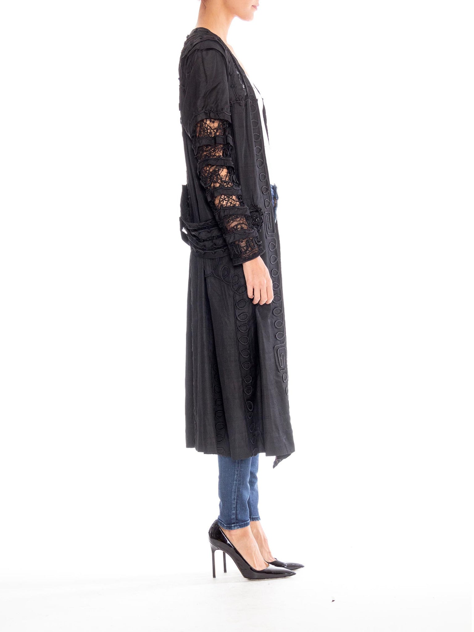 Edwardian Black Silk Dupioni & Lace Duster With Beaded Braided Trim