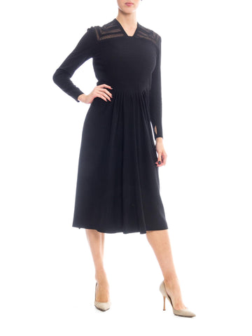 1940S Black Rayon Crepe Long Sleeve Dress With Lace Insertion & Pin Tucked Bodice