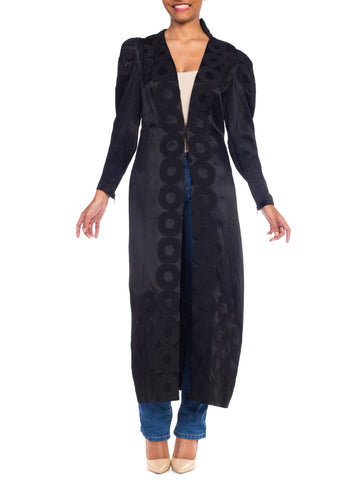 1930s Art Deco Applique Satin Coat