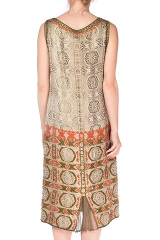 1920S Champagne Lamé Geometric Print  Dress With Coral & Gold French Knot Deco Pattern