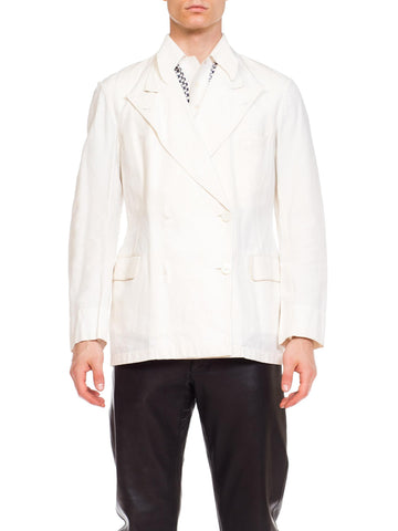 White Cotton Mens Double Breasted Jacket