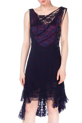 Morphew Lab Avant Garde Navy and Plum Layered Dress With Lace