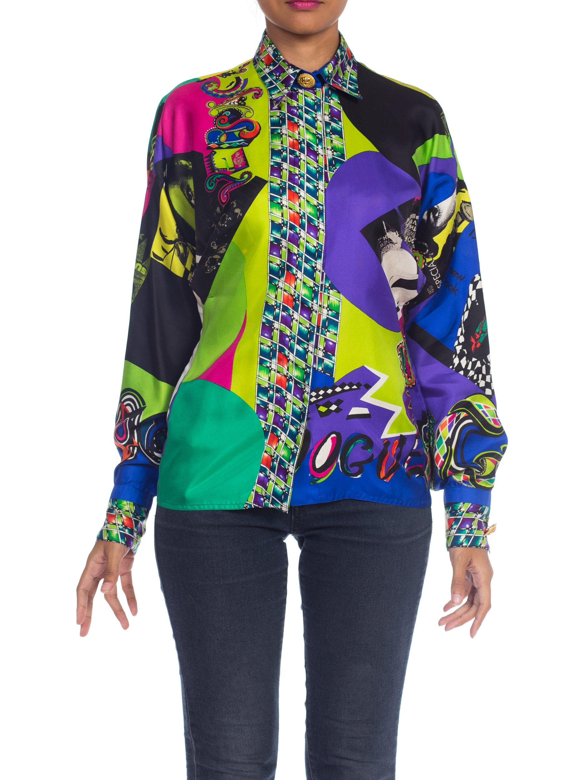 1990s Atelier Gianni Versace Silk Vogue Collection Blouse