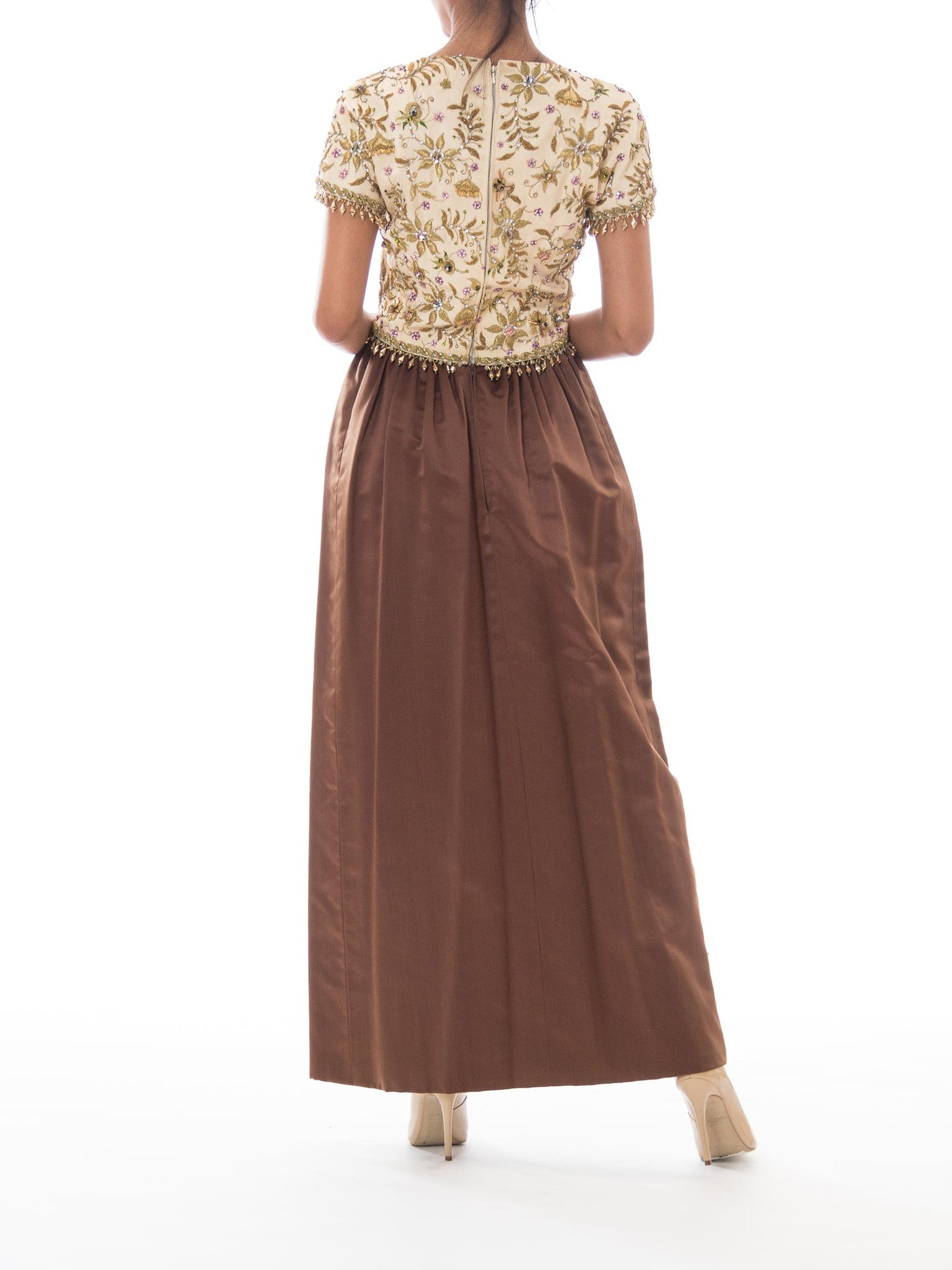 1950S BALENCIAGA Style Ivory & Brown Silk Duchess Satin Gown With Elaborate Gold Metalwork Embroidery Crystal Beading