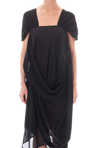 1990S Junya Watanabe For Comme Des Garcons Black Polyester Chiffon Asymmetrical Avant Garde Draped  Dress