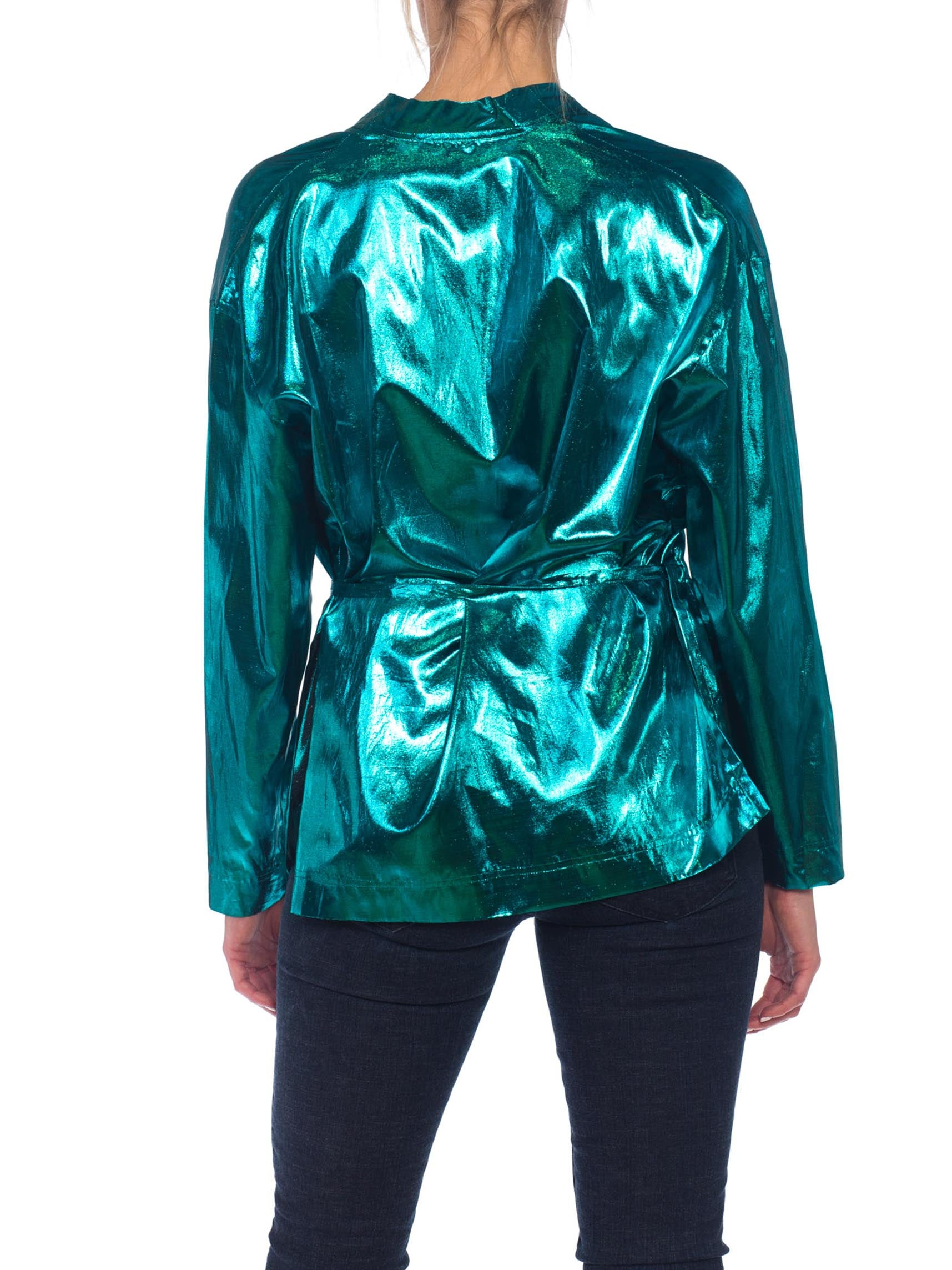 1980S Teal Lamé Gucci Style Disco Wrap Top