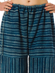 Morphew Lab Summer Striped Palazzo Pants Made of African Hand Woven Dyed Indigo Fabric