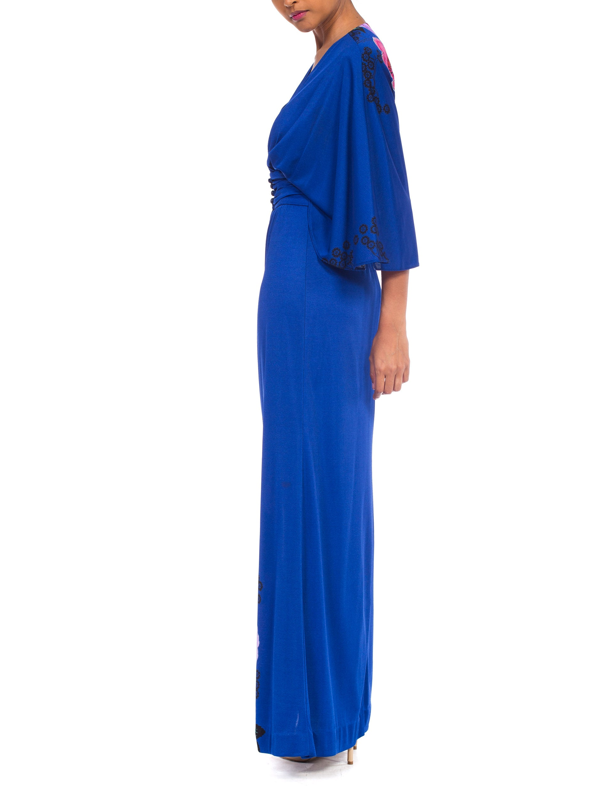 1970S Giorgio Beverly Hillls Cobalt Blue Polyester Jersey Low Cut Disco Dress